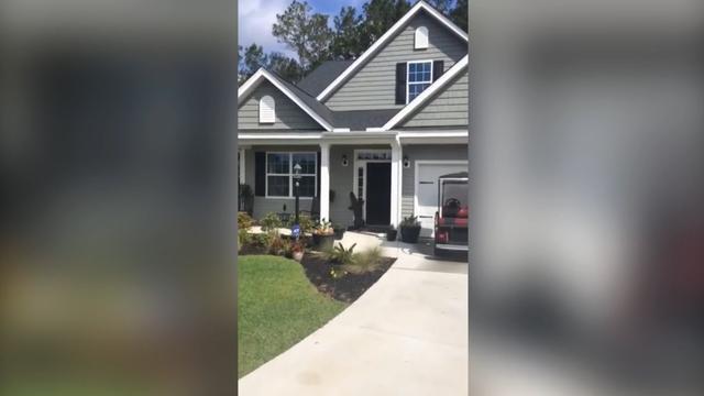 Alligator belt aan bij huis in Zuid-Carolina