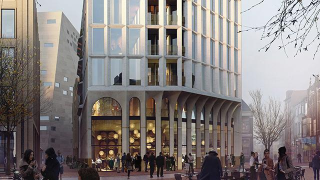 Drie ontwerpen voor nieuw hoekpand van de Oostwand en Poelestraat