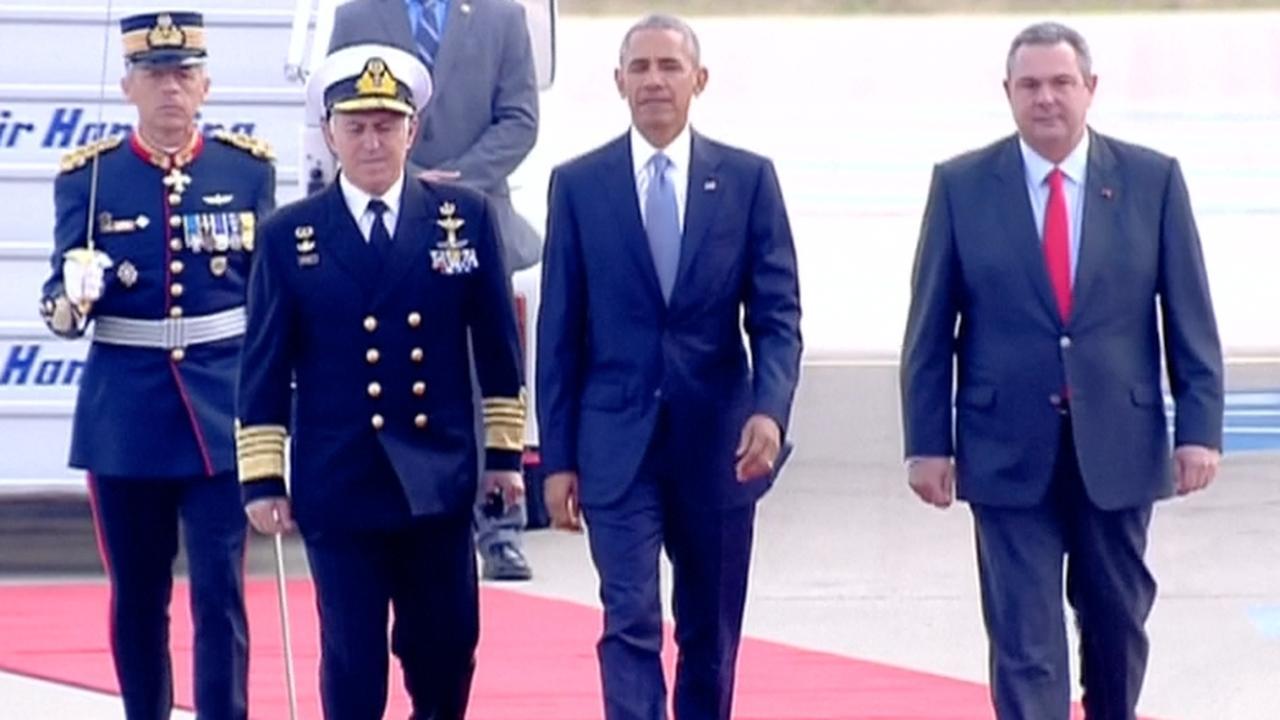 Obama begint laatste bezoek aan Europa in Griekenland