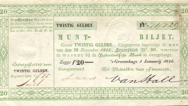 Recordbedrag voor bankbiljet van twintig gulden uit 1846
