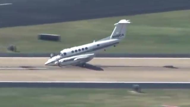 Vliegtuig landt op neus in Oklahoma City