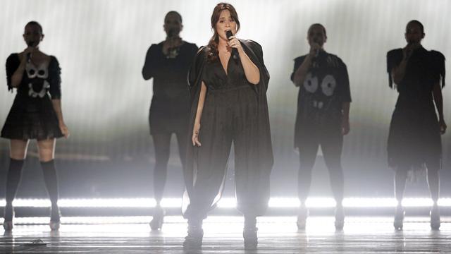 Trijntje Oosterhuis tijdens het Eurovisie Songfestival