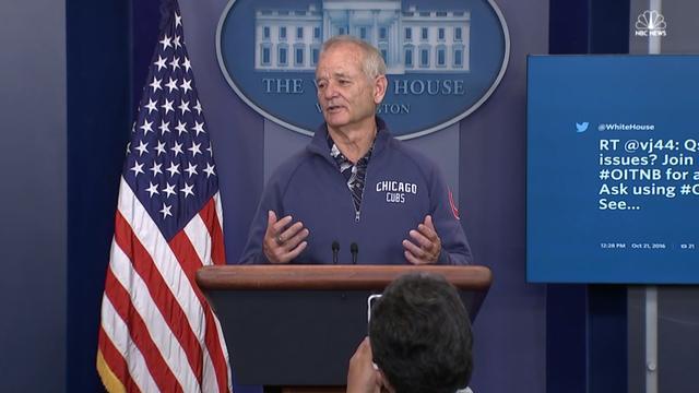 Bill Murray voorspelt honkbalwedstrijd in Witte Huis