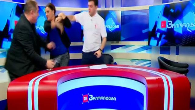 Televisiedebat tussen Georgische politici ontaardt in gevecht