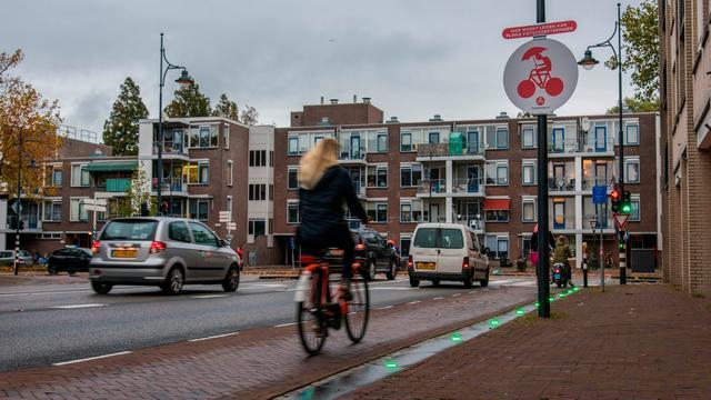 Sliert van ledlampjes leidt fietsers naar groen licht