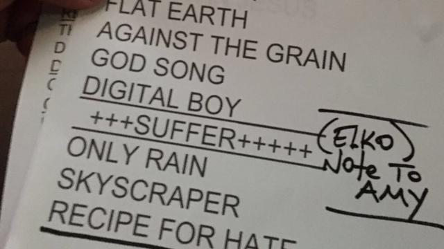 De setlist van Bad Religion met daarop Eelco