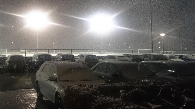 Dun laagje sneeuw in Twente