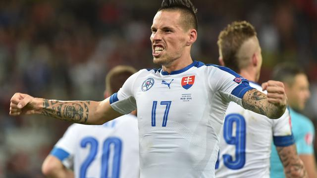 Slowakije verslaat Rusland door treffers Hamsik en Weiss