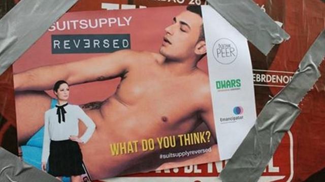DWARS voert actie tegen omstreden posters SuitSupply op Vrouwendag