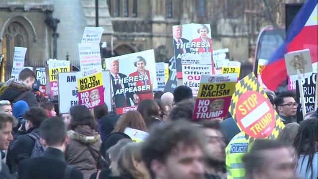Protesten voor Britse parlement tegen mogelijk staatsbezoek Trump