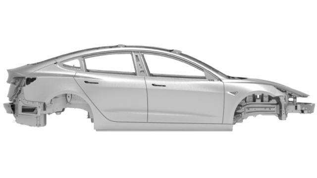 Tesla Model 3 gedeeltelijk te zien