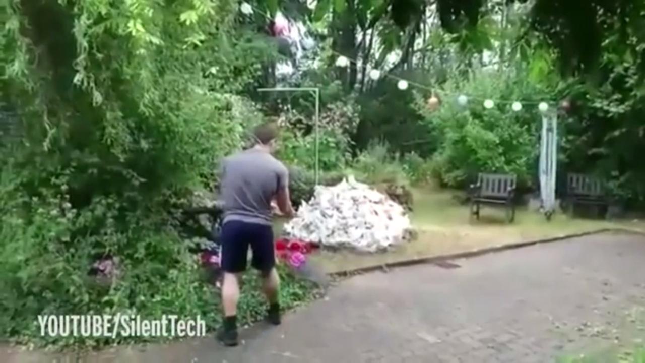 Man wil afval verbranden, blaast zijn hele tuin op