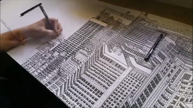 Artiest jaar bezig met gedetailleerde pentekening New York