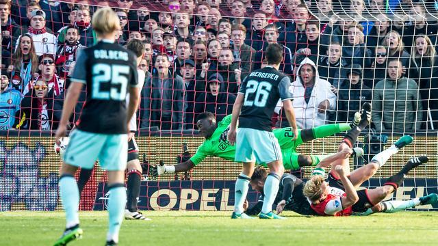 Kuijt kopt Feyenoord in slotfase naar gelijkspel tegen Ajax