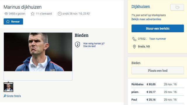 NAC-fan zet trainer Marinus Dijkhuizen op Marktplaats: 'Gratis af te halen'
