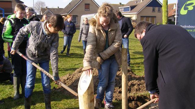 Leerlingen planten bomen en maken zaadbollen