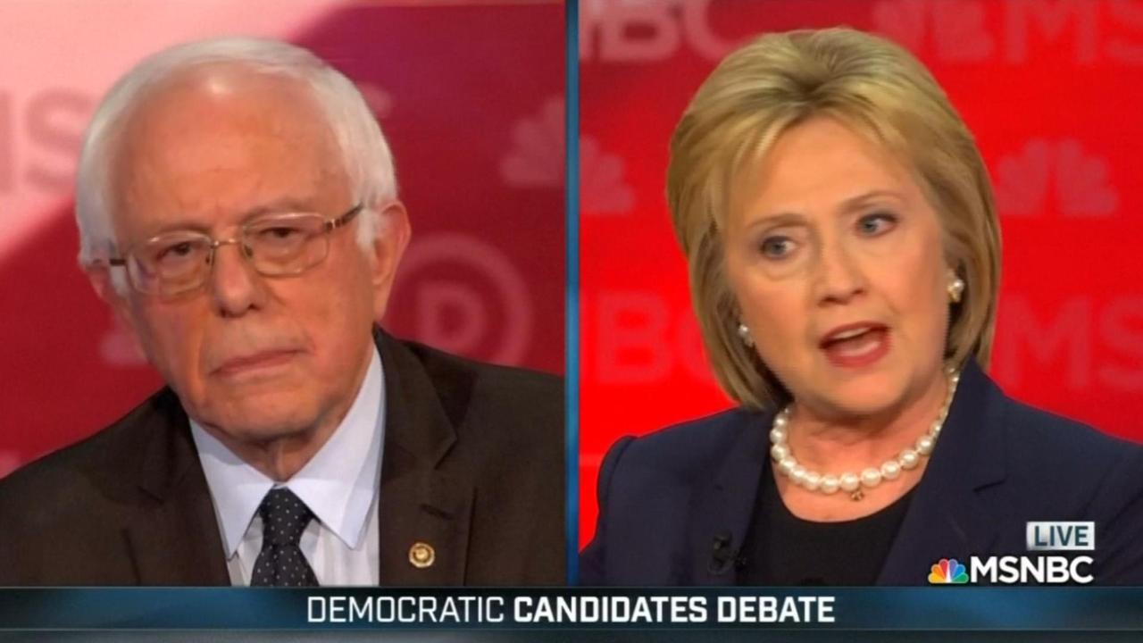 Clinton en Sanders spelen op de man in debat Democraten