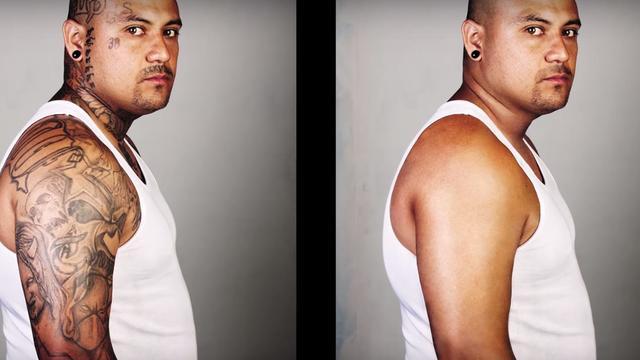 Voormalig bendelid Francisco ziet zichzelf voor het eerst zonder tatoeages