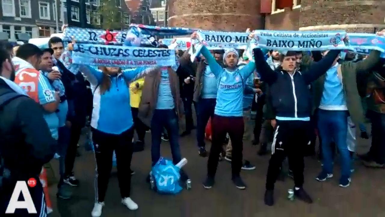 Celta de Vigo-supporters op de Nieuwmarkt