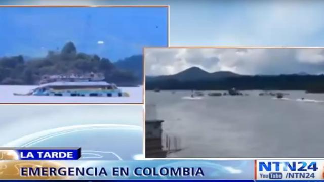 Boot met 170 toeristen aan boord zinkt in stuwmeer Penol in Colombia