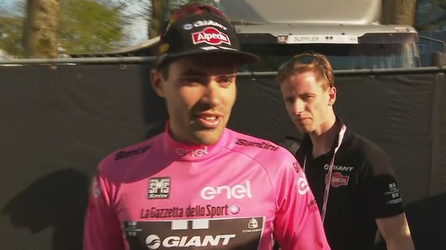 Tom Dumoulin blij met roze trui