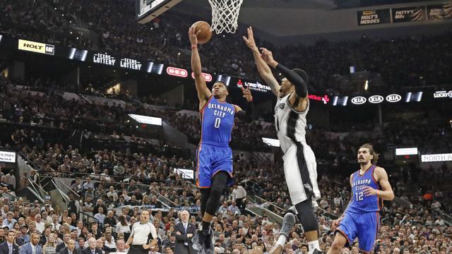 Oklahoma voor het eerst op voorsprong tegen San Antonio in NBA
