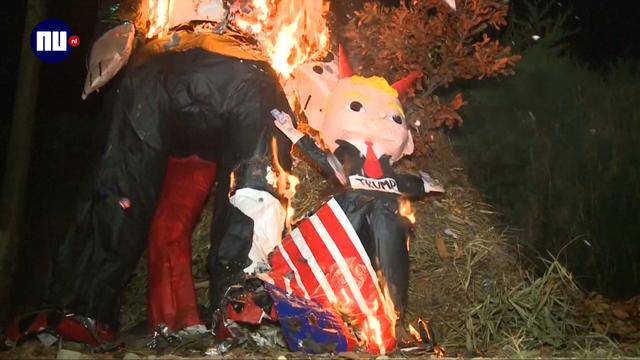 Guatemala verbrandt Trump-pop om duivels te verdrijven