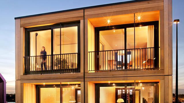 Duurzame houten woningen voor tijdelijke huisvesting