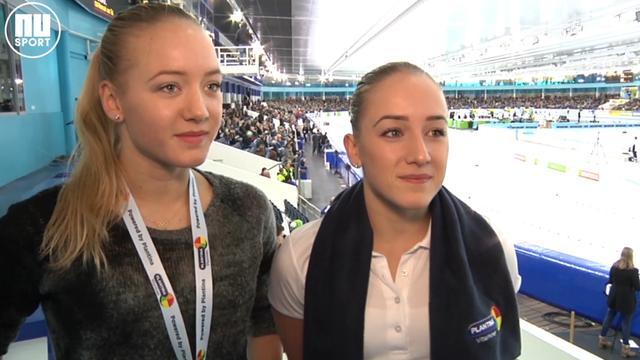 Turnsters Sanne en Lieke Wevers: 'Leuk om schaatsers aan te moedigen in Thialf'