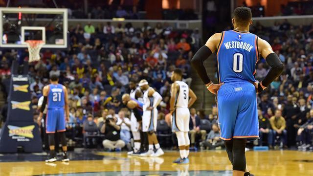 Westbrook komt rebound tekort om NBA-record te verbeteren