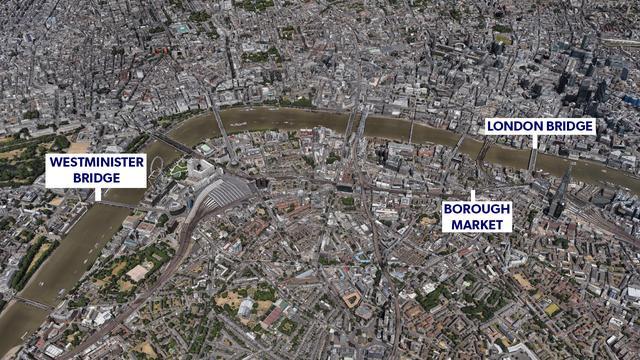 Locaties aanslag Londen