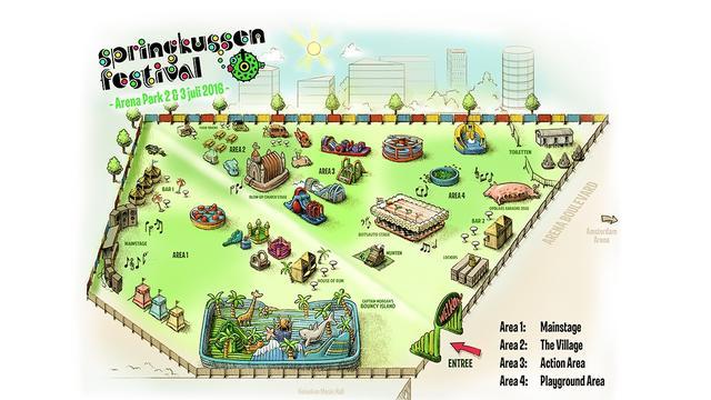 Het eerste springkussen Festival voor volwassenen