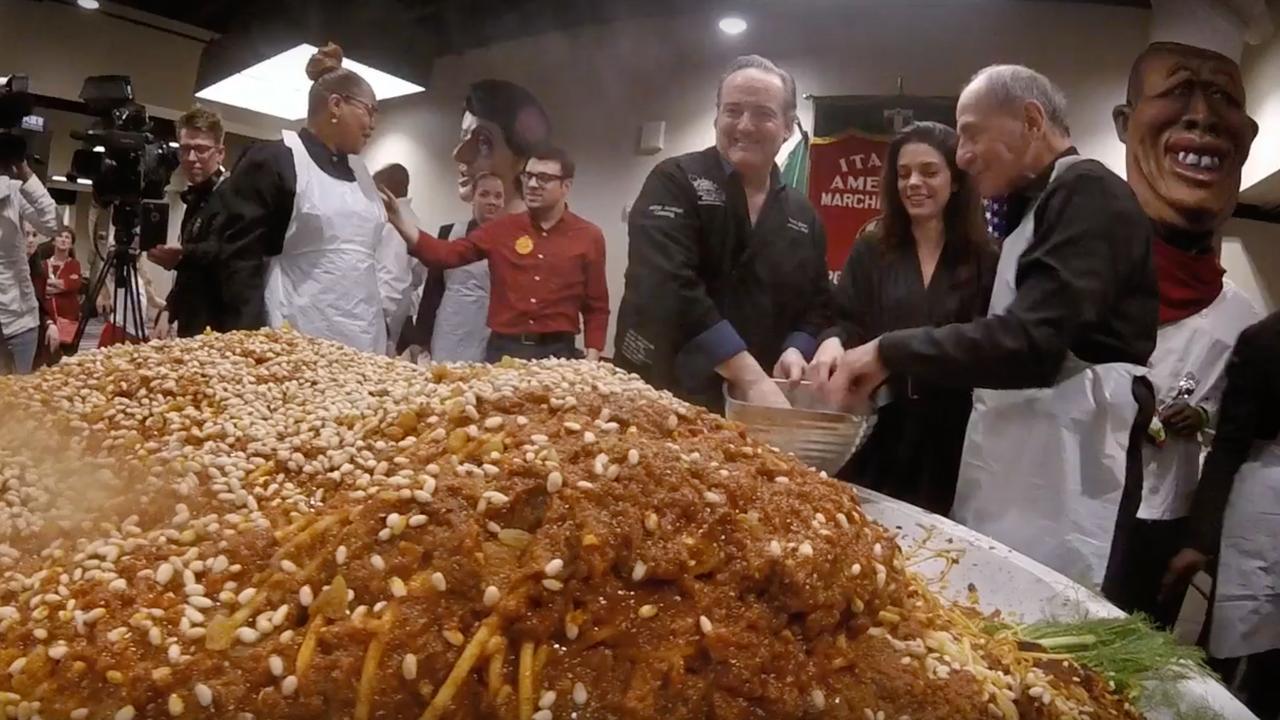 Amerikanen maken schaal met ruim tweehonderd kilo spaghetti