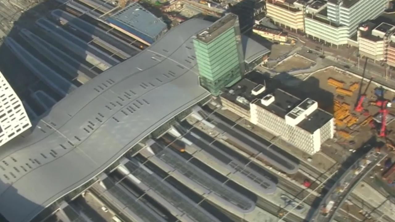 Zo ziet de verbouwing van Utrecht CS er vanuit de lucht uit