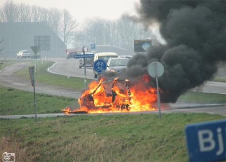Brommobiel in brand