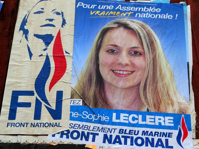 National Front politicians Marine Le Pen and Anne-Sophie Leclere, French parliamentary election poster