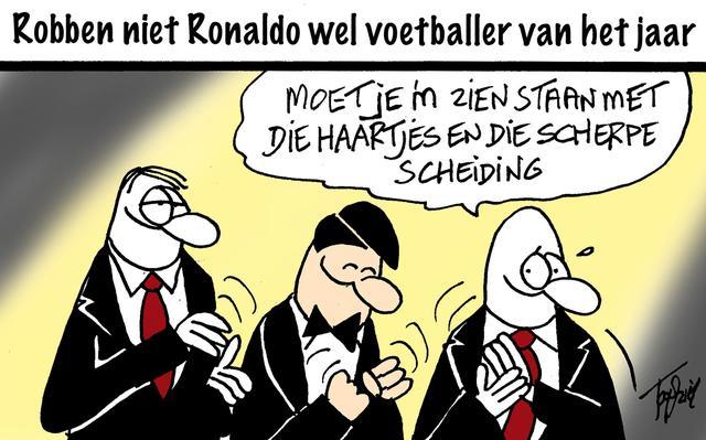 Robben niet Ronaldo wel voetballer van het jaar