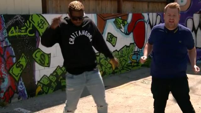 Usher geeft James Corden dansles en zingt in auto