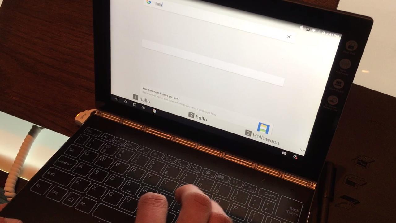 Typen zonder toetsenbord op nieuwe Lenovo-laptop