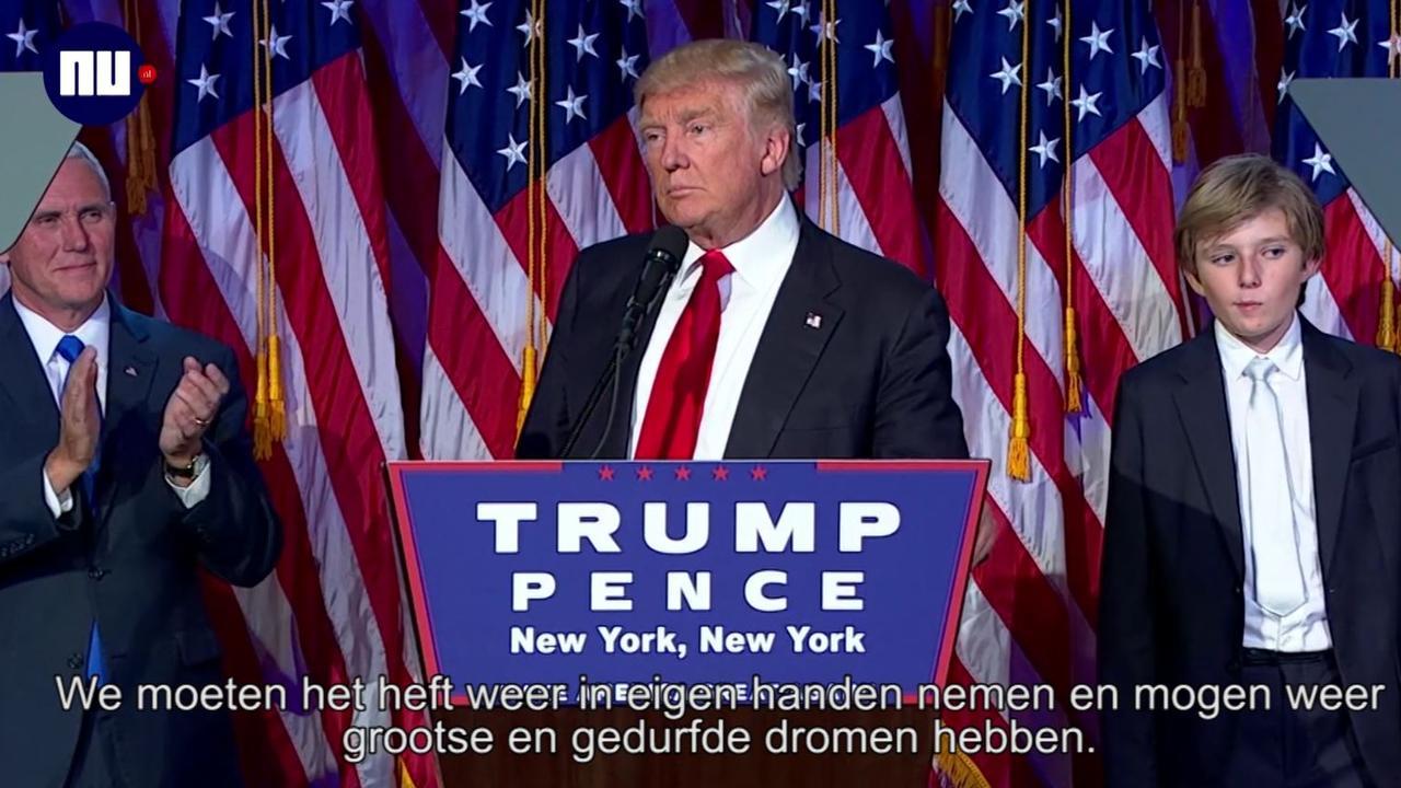 Donald Trump houdt overwinningsspeech