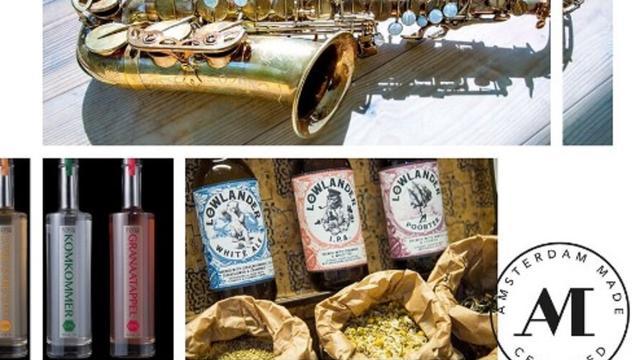 Keurmerk voor Amsterdamse dranken, saxofoons en lamp