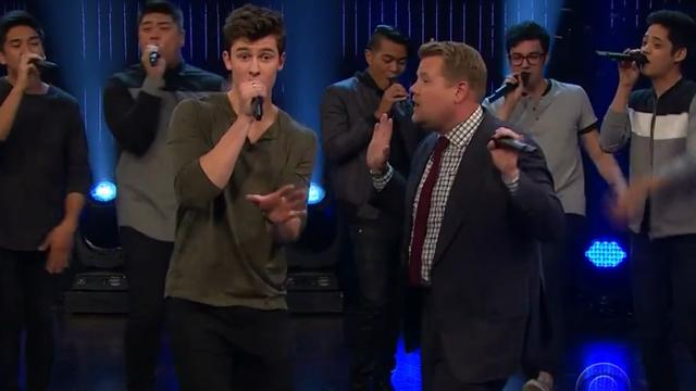 Shawn Mendes en James Corden doen een sing-off