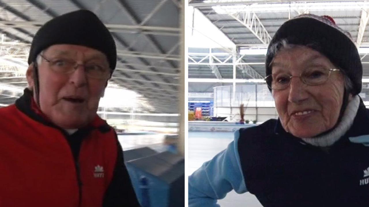 Jan en Ada op ijsbaan De Westfries in Hoorn