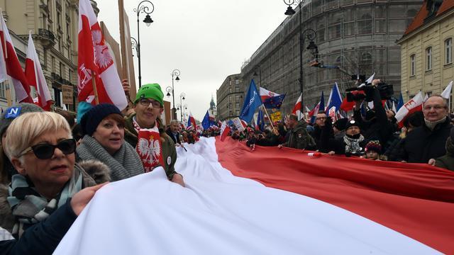 Tienduizenden Poolse betogers demonstreren voor grondwet