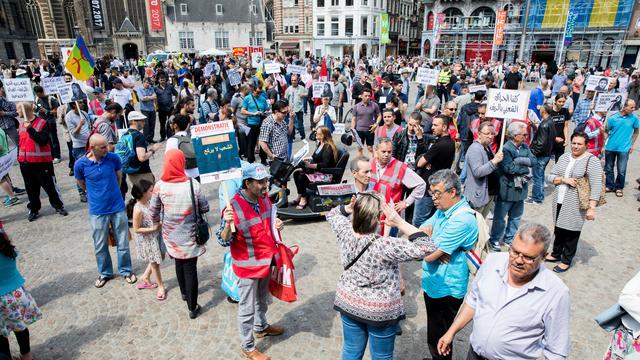 Protest tegen situatie Marokkaans Rifgebied op Amsterdamse Dam