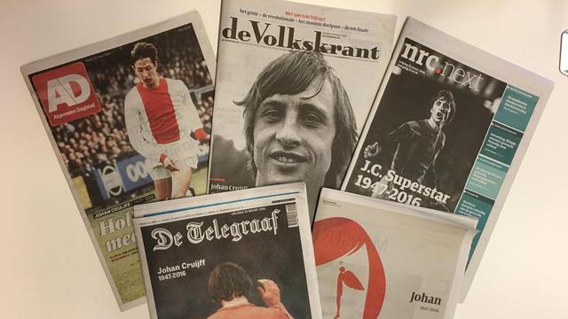 Nederlandse kranten staan massaal stil bij overlijden Cruijff