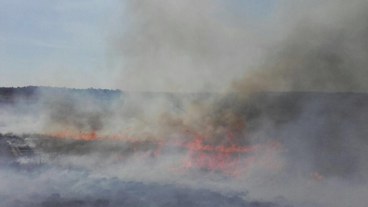 Grote heidebrand op de Veluwe