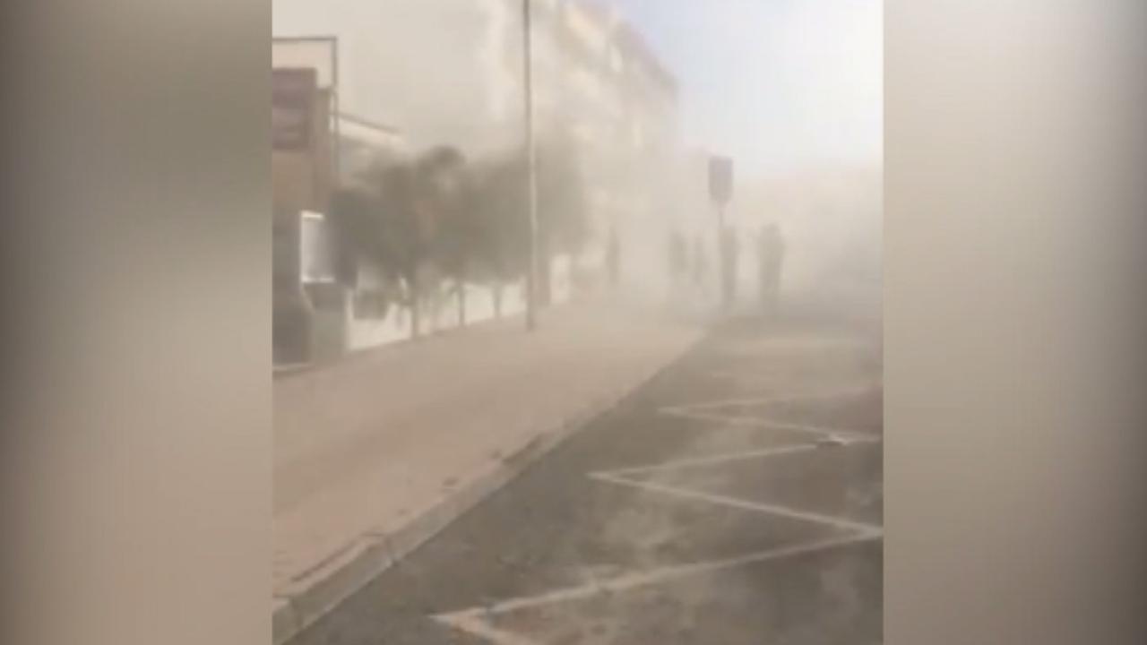 Beelden van vlak na instorten gebouw op Tenerife