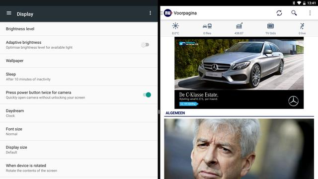 Multitasking in Android N (tablet)
