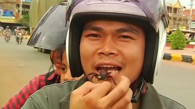 Zo bereiden ze een heerlijke vogelspin in Cambodja